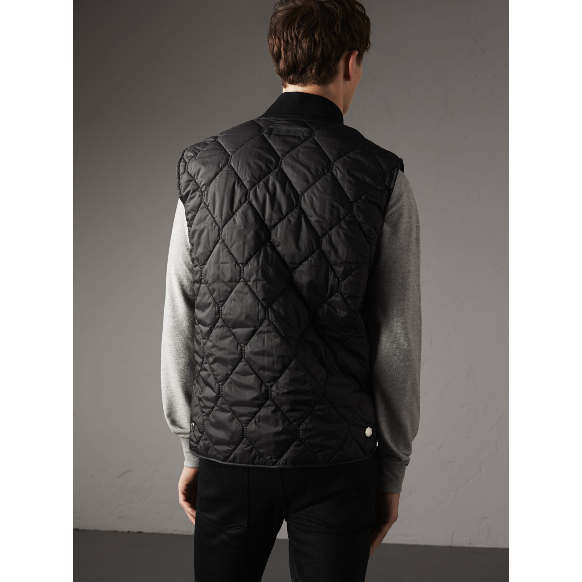Diamond Quilted Gilet in Black - Men | Burberry Singapore - gallery image 3