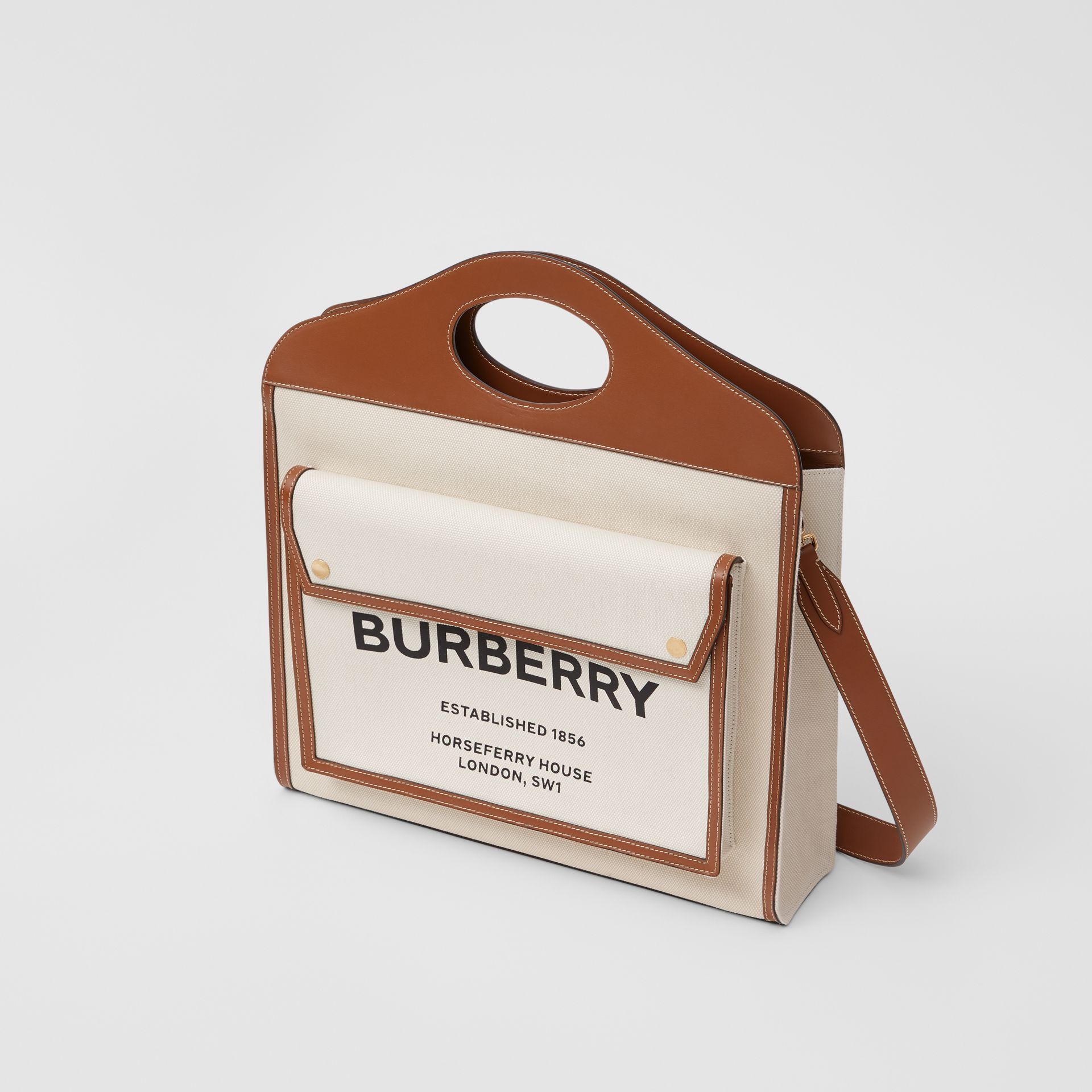 Medium Two-tone Canvas and Leather Pocket Bag in Natural/malt Brown - Women | Burberry - gallery image 3