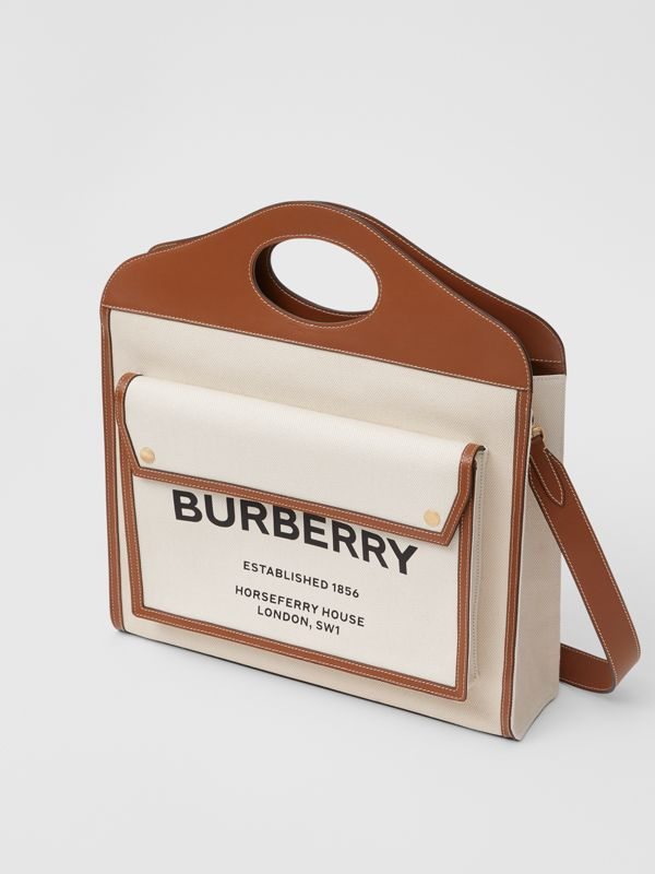 Medium Two-tone Canvas and Leather Pocket Bag in Natural/malt Brown - Women | Burberry - cell image 3