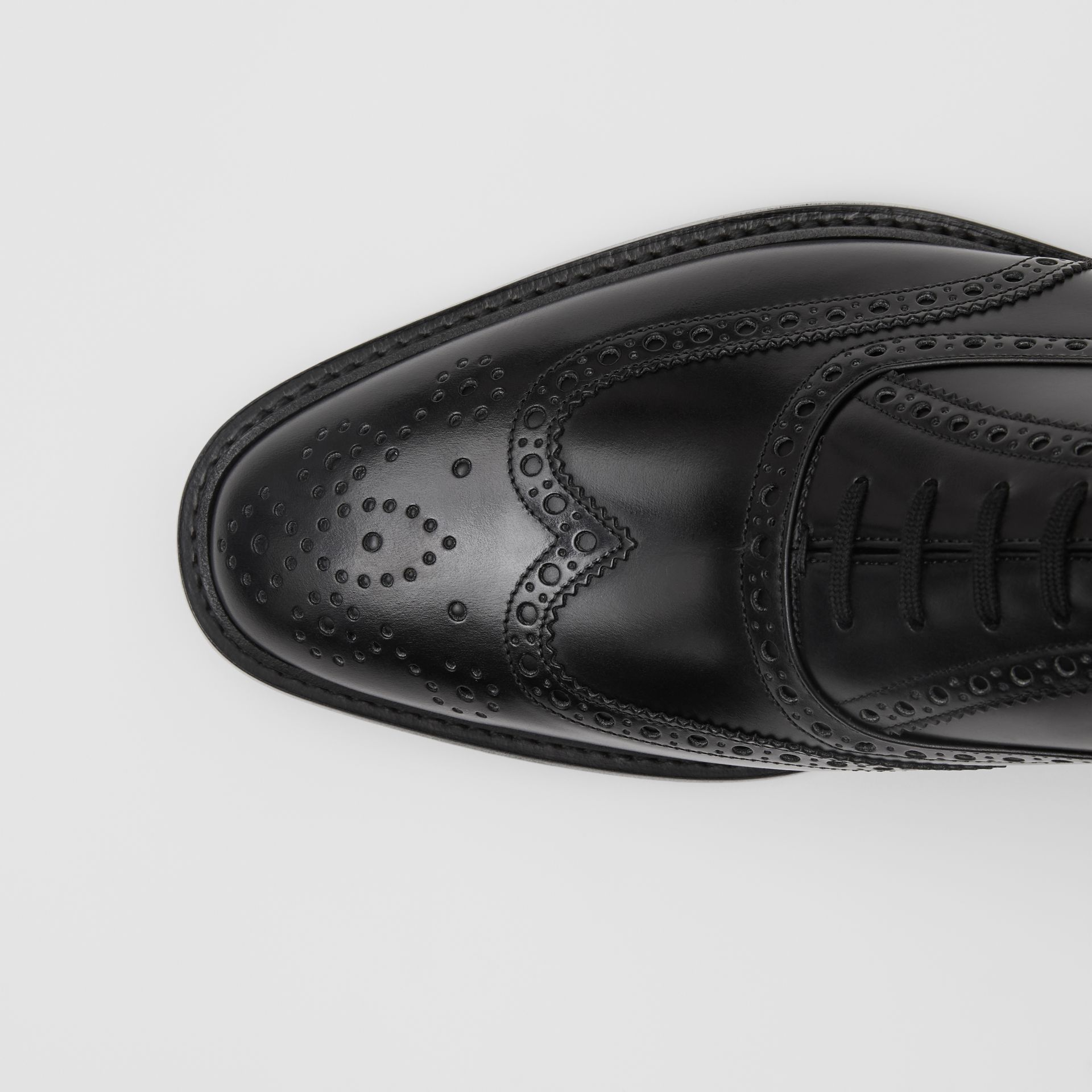D-ring Detail Patent Leather Oxford Brogues in Black - Men | Burberry - gallery image 1