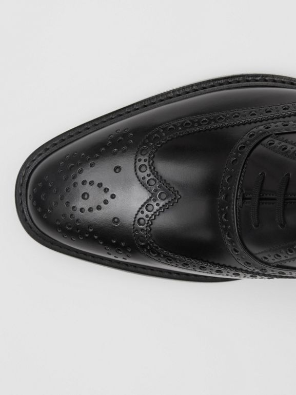 D-ring Detail Patent Leather Oxford Brogues in Black - Men | Burberry - cell image 1