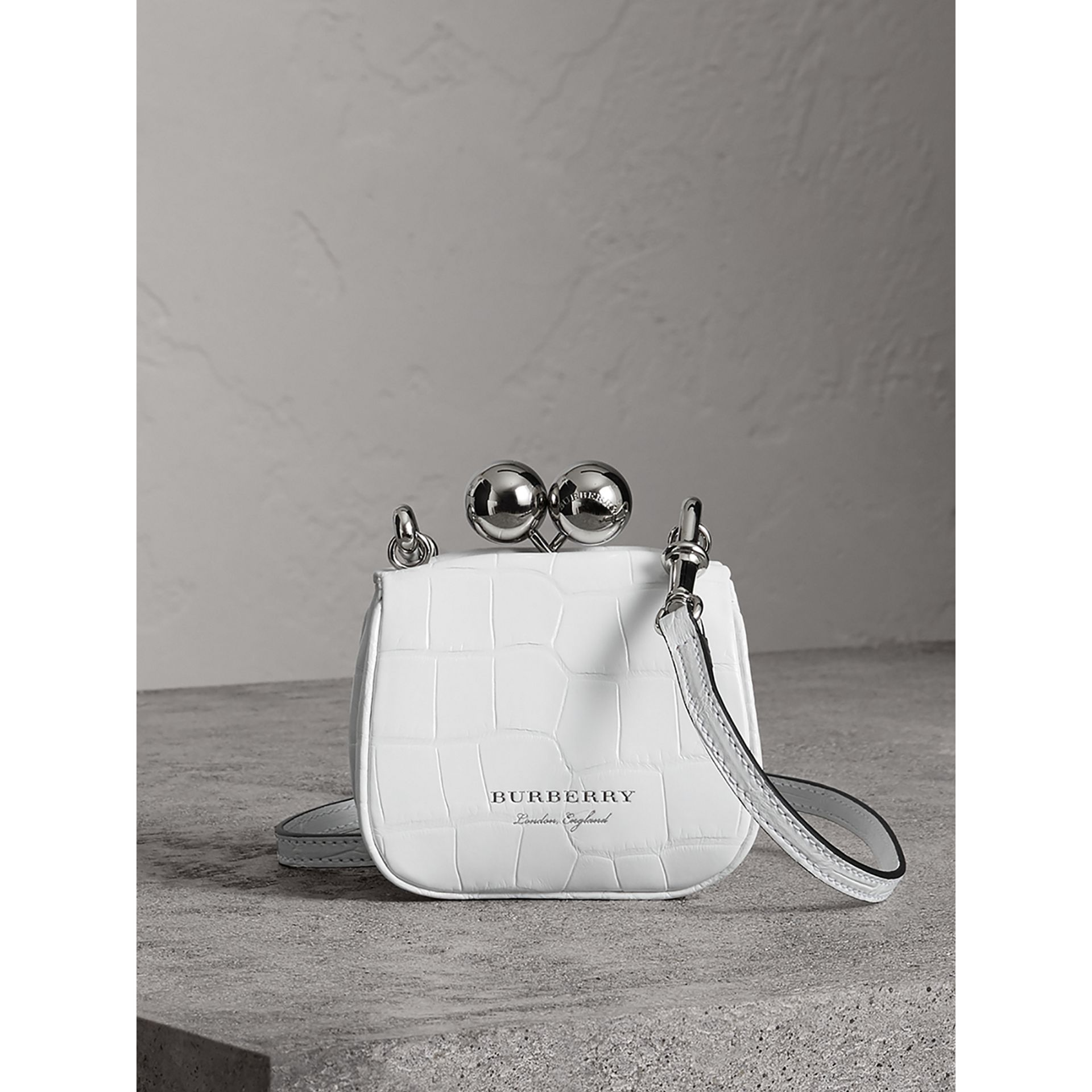 Mini Alligator Frame Bag in White - Women | Burberry United Kingdom - gallery image 0