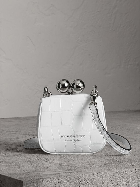 Mini Alligator Frame Bag in White