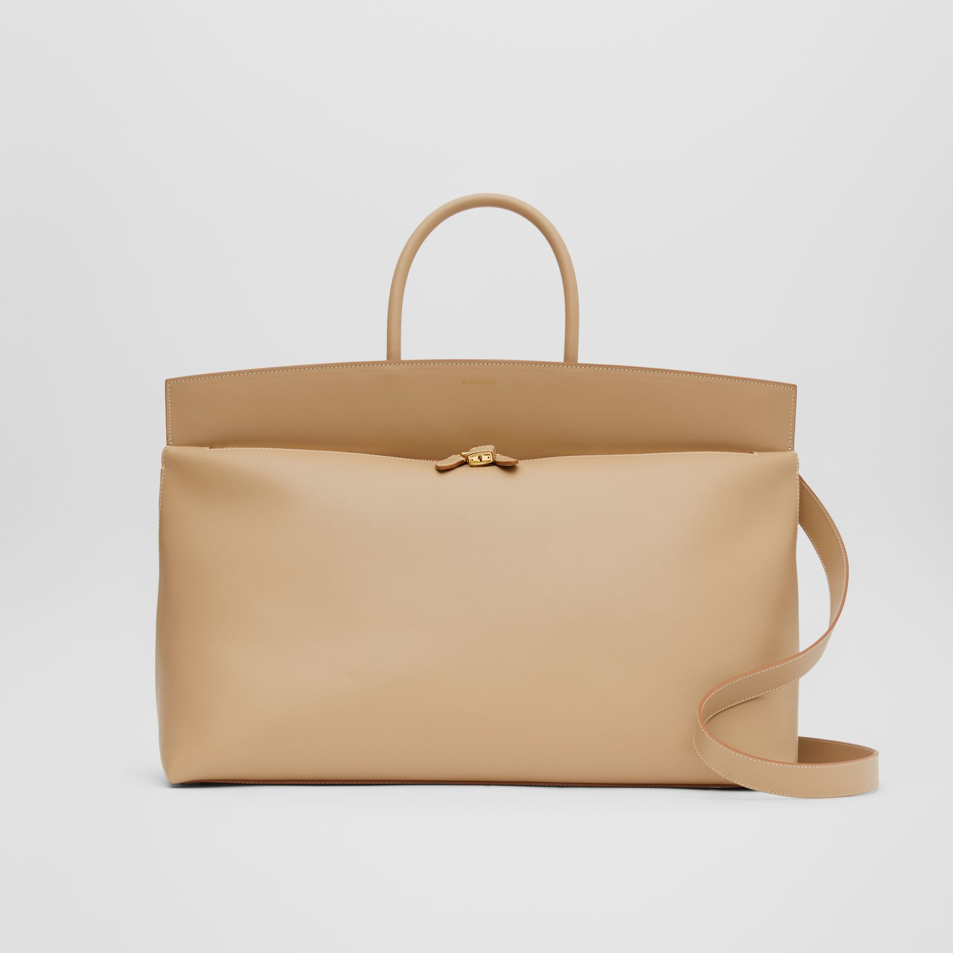 Extra Large Leather Society Top Handle Bag in Honey - Men | Burberry - gallery image 0