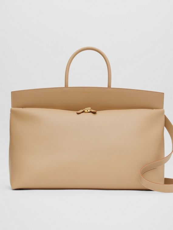 Extra Large Leather Society Top Handle Bag in Honey