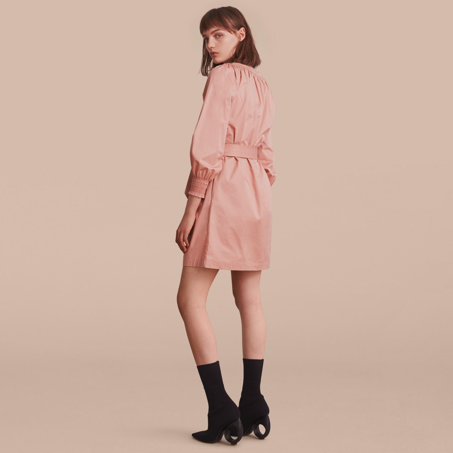 Smocked Cuff Stretch Cotton Dress - gallery image 3