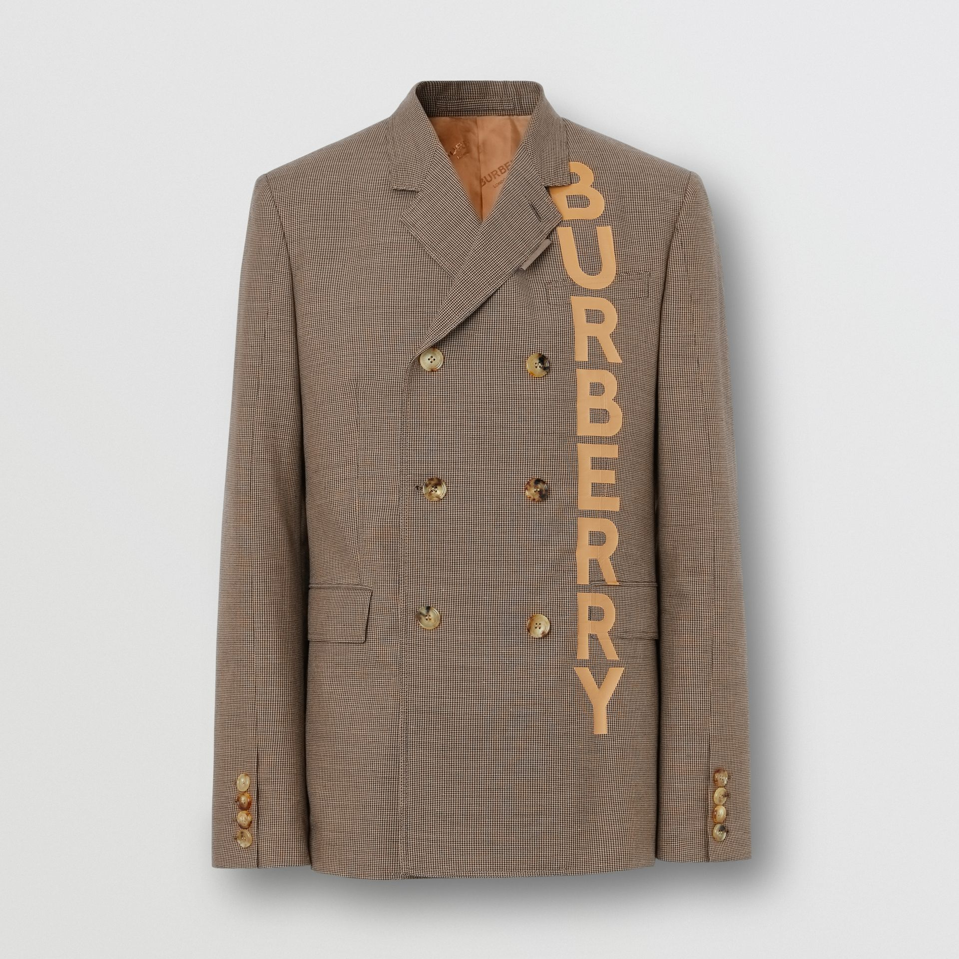 Slim Fit Logo Print Cotton Wool Blend Tailored Jacket in Beige - Men | Burberry - gallery image 3