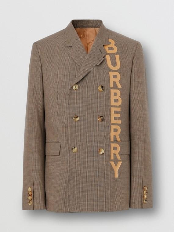 Chaqueta de vestir entallada en mezcla de algodón y lana con logotipo (Beige)