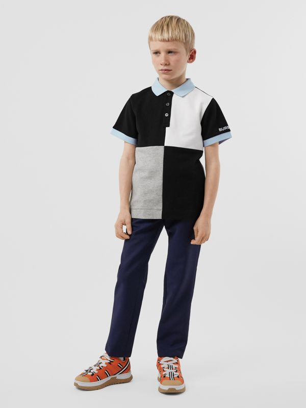 Colour Block Knit Cotton Polo Shirt in Grey Melange | Burberry - cell image 2