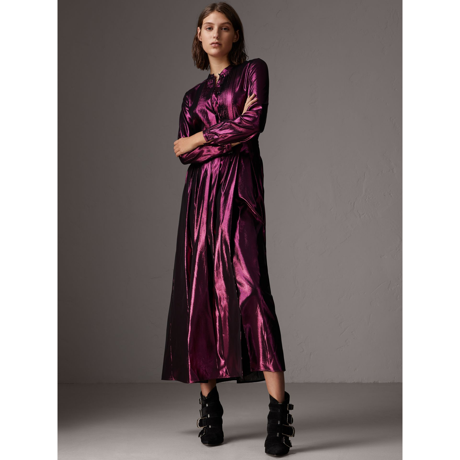 Long-sleeve Pintuck Lamé Dress in Bright Fuchsia - Women | Burberry - gallery image 5
