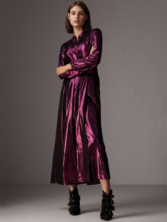 長袖褶縫金銀絲洋裝 (亮紫紅)