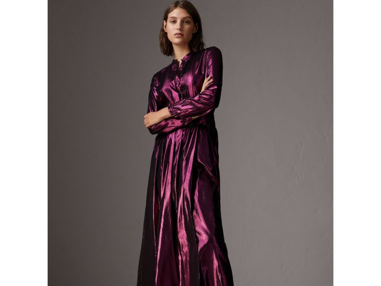 Long-sleeve Pintuck Lamé Dress in Bright Fuchsia - Women | Burberry United Kingdom - cell image 4