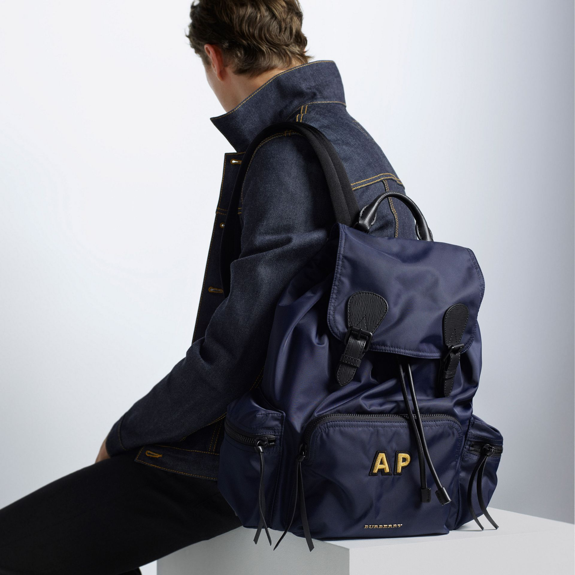 The Large Rucksack in Technical Nylon and Leather in Ink Blue - Men | Burberry United States - gallery image 6