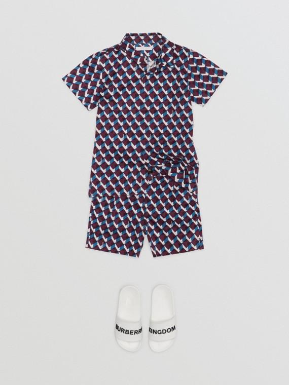 Chemise à manches courtes en coton à imprimé géométrique (Bleu Minéral)