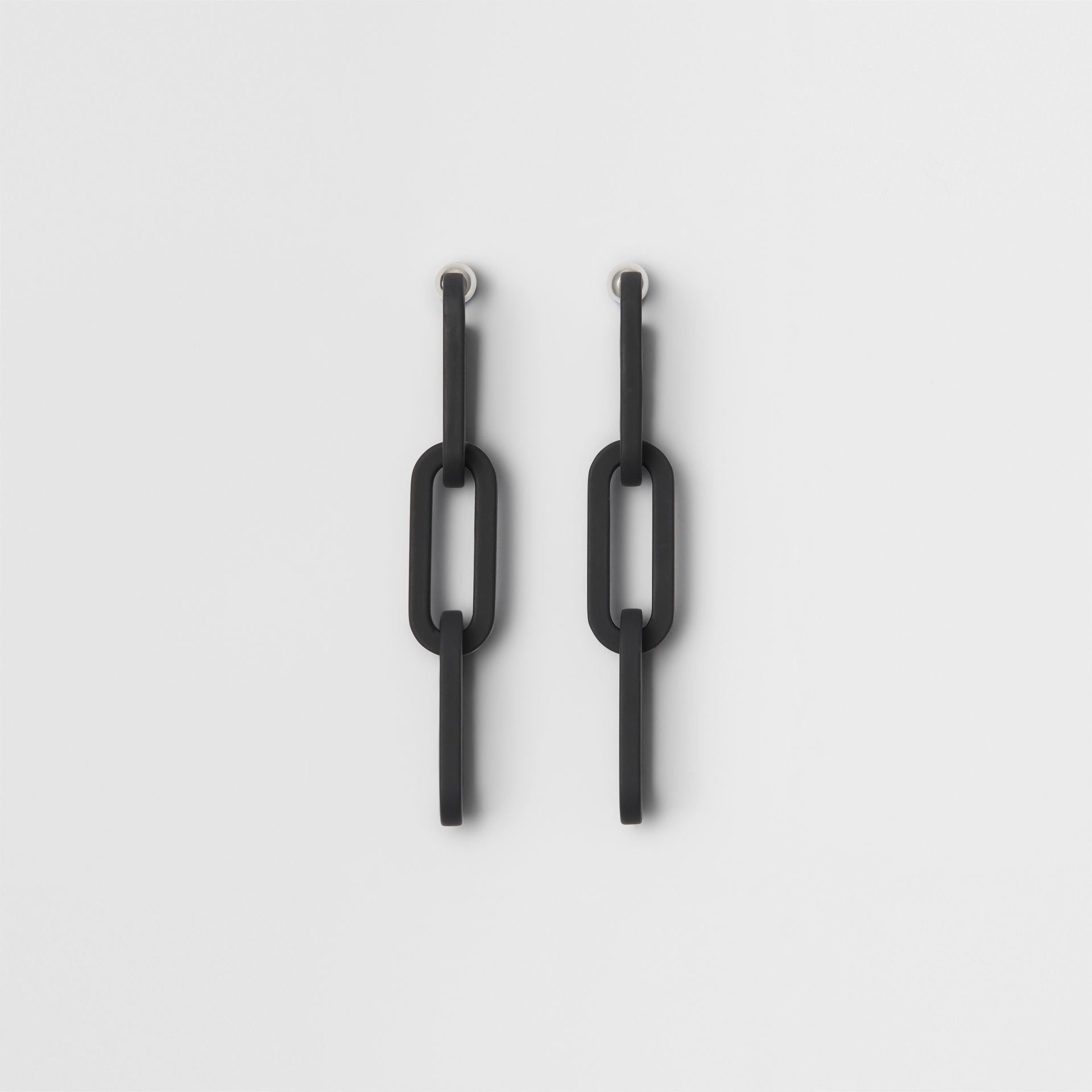 Rubberised Link Drop Earrings in Black - Women | Burberry - gallery image 0