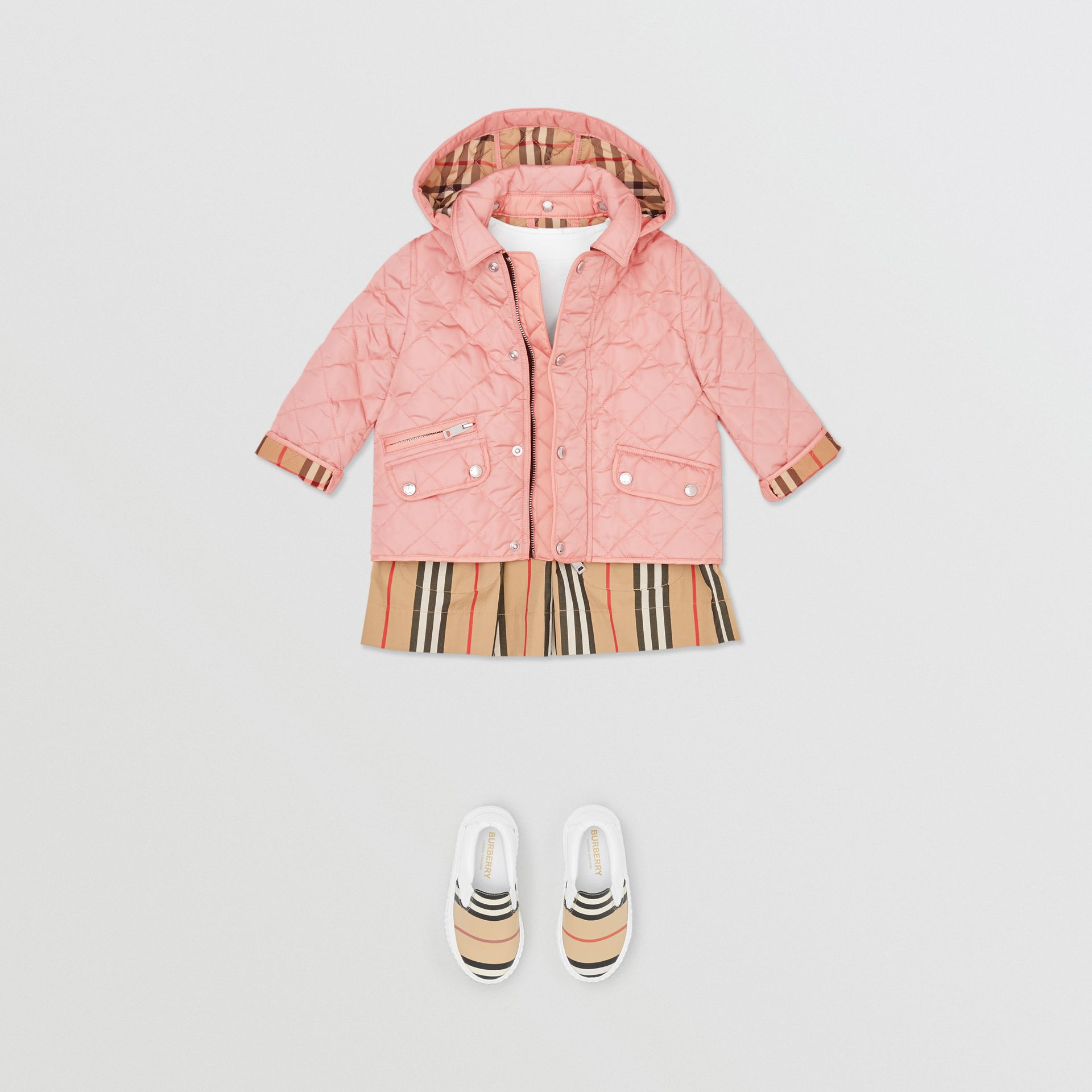 Detachable Hood Diamond Quilted Jacket in Dusty Pink - Children   Burberry - gallery image 2