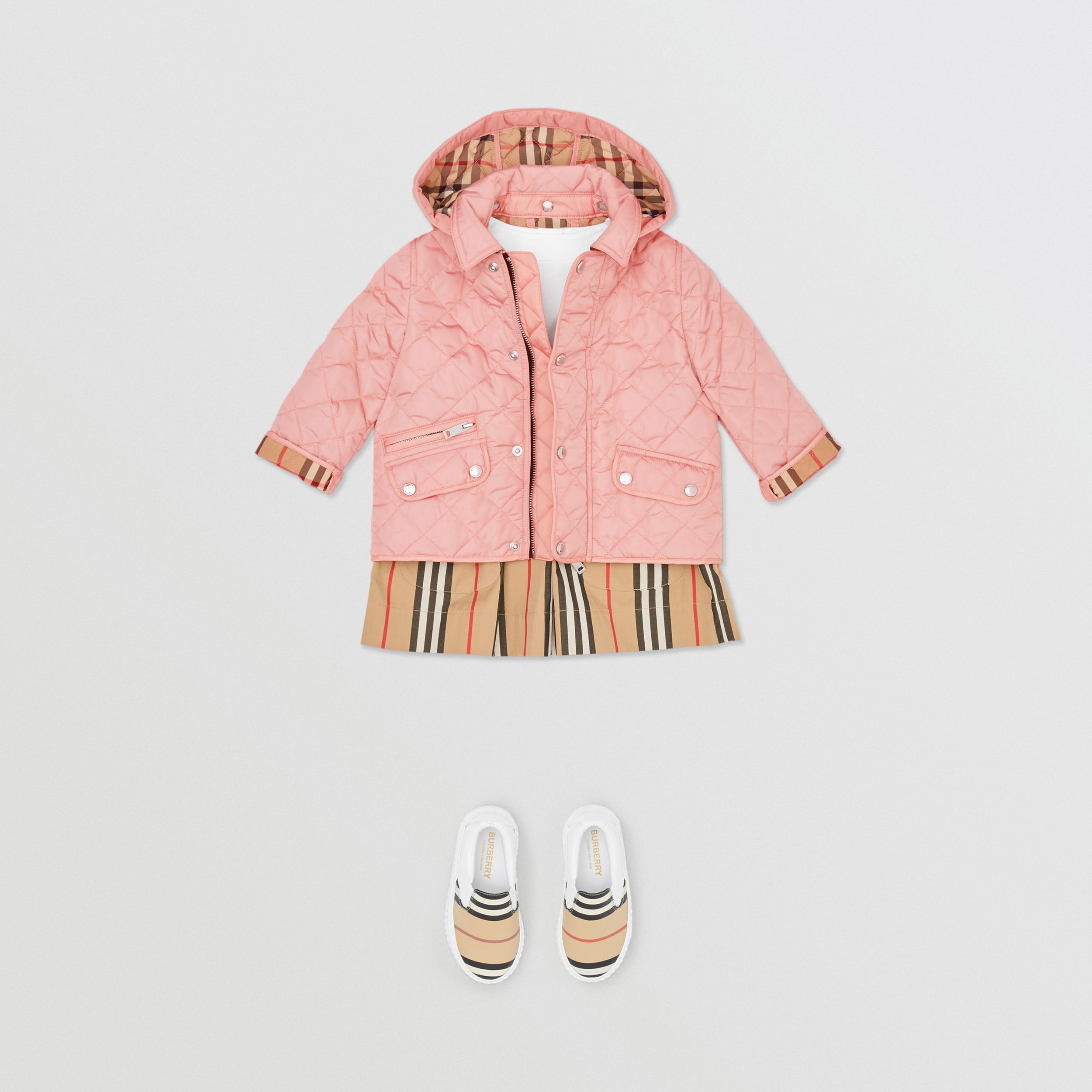 Detachable Hood Diamond Quilted Jacket in Dusty Pink - Children | Burberry - 3