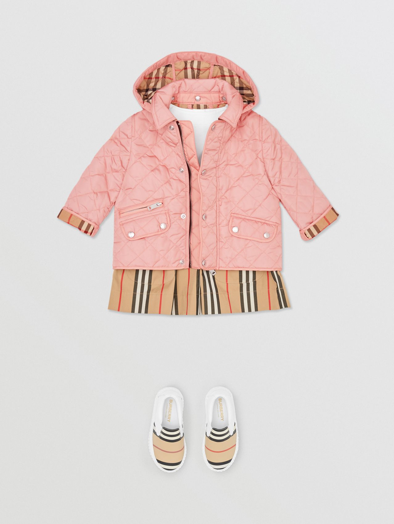 Detachable Hood Diamond Quilted Jacket in Dusty Pink