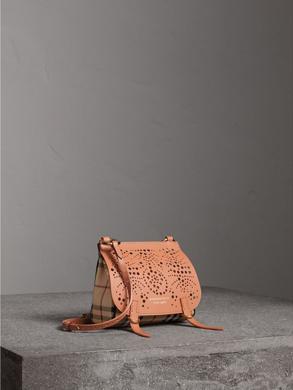 The Baby Bridle Bag in Leather and Haymarket Check in Pale Clementine