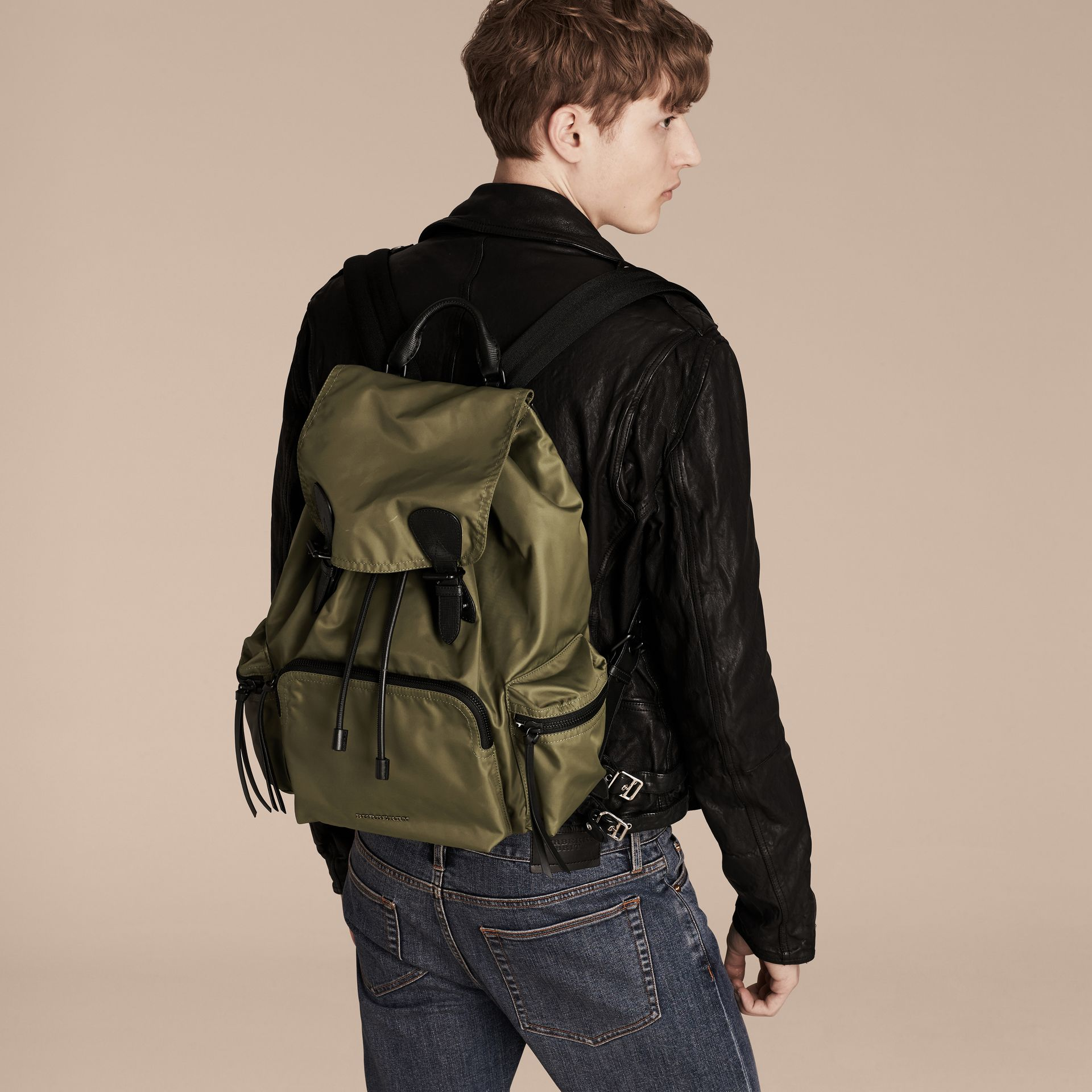 The Large Rucksack in Technical Nylon and Leather Canvas Green - gallery image 3