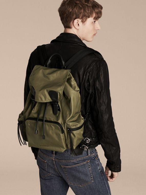 The Large Rucksack in Technical Nylon and Leather Canvas Green - cell image 2