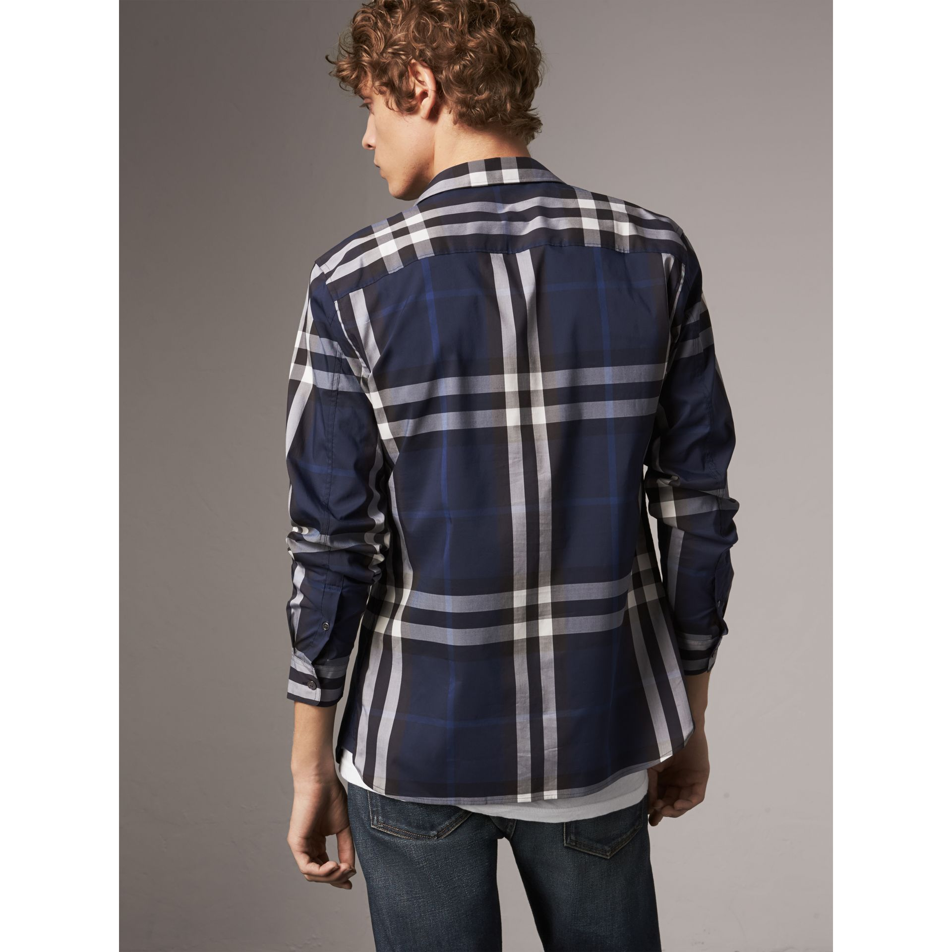 Check Stretch Cotton Shirt in Indigo Blue - Men | Burberry United States - gallery image 2