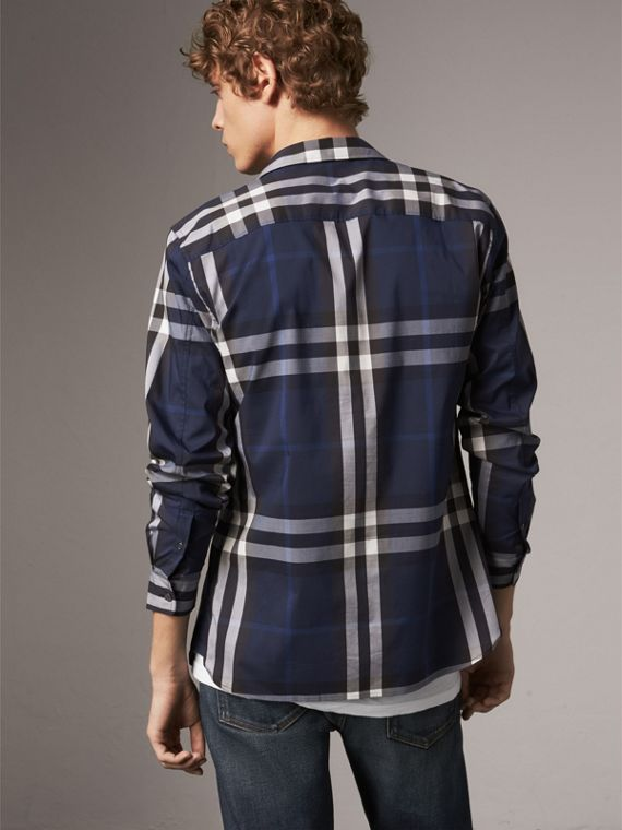 Check Stretch Cotton Shirt in Indigo Blue - Men | Burberry - cell image 2