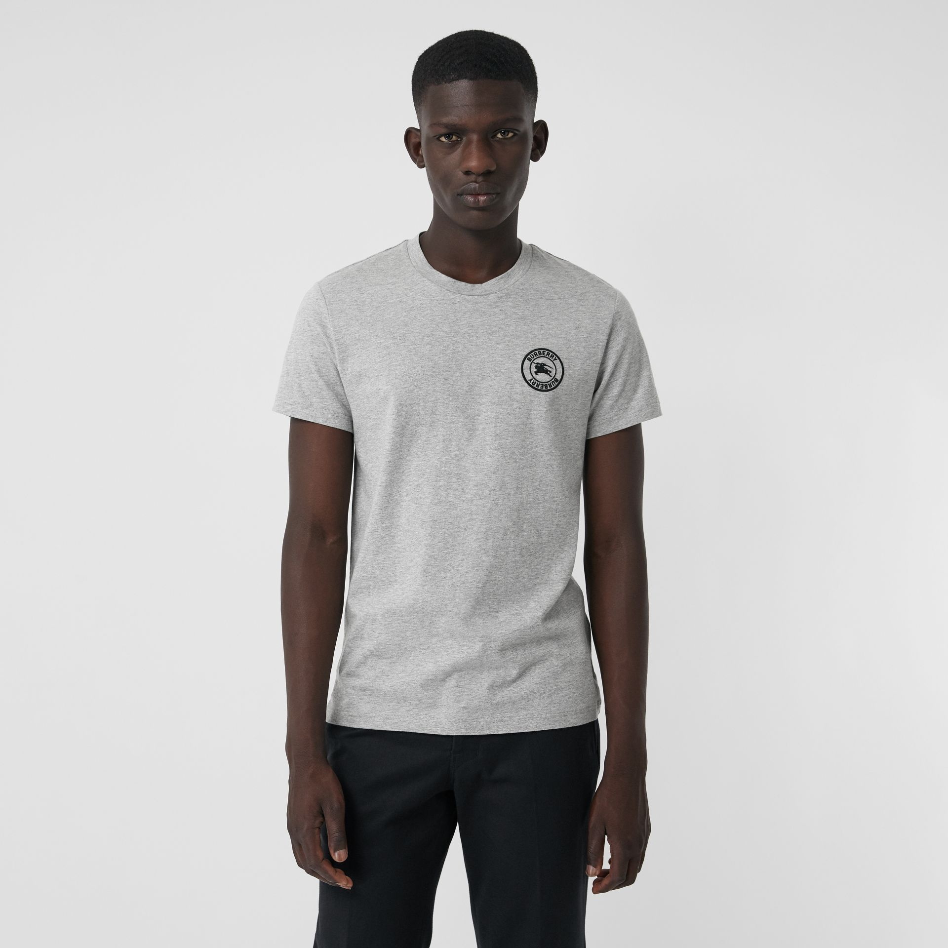 Embroidered Logo Cotton T-shirt in Pale Grey Melange - Men | Burberry Australia - gallery image 0