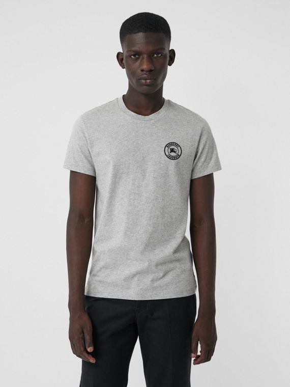 Embroidered Logo Cotton T-shirt in Pale Grey Melange