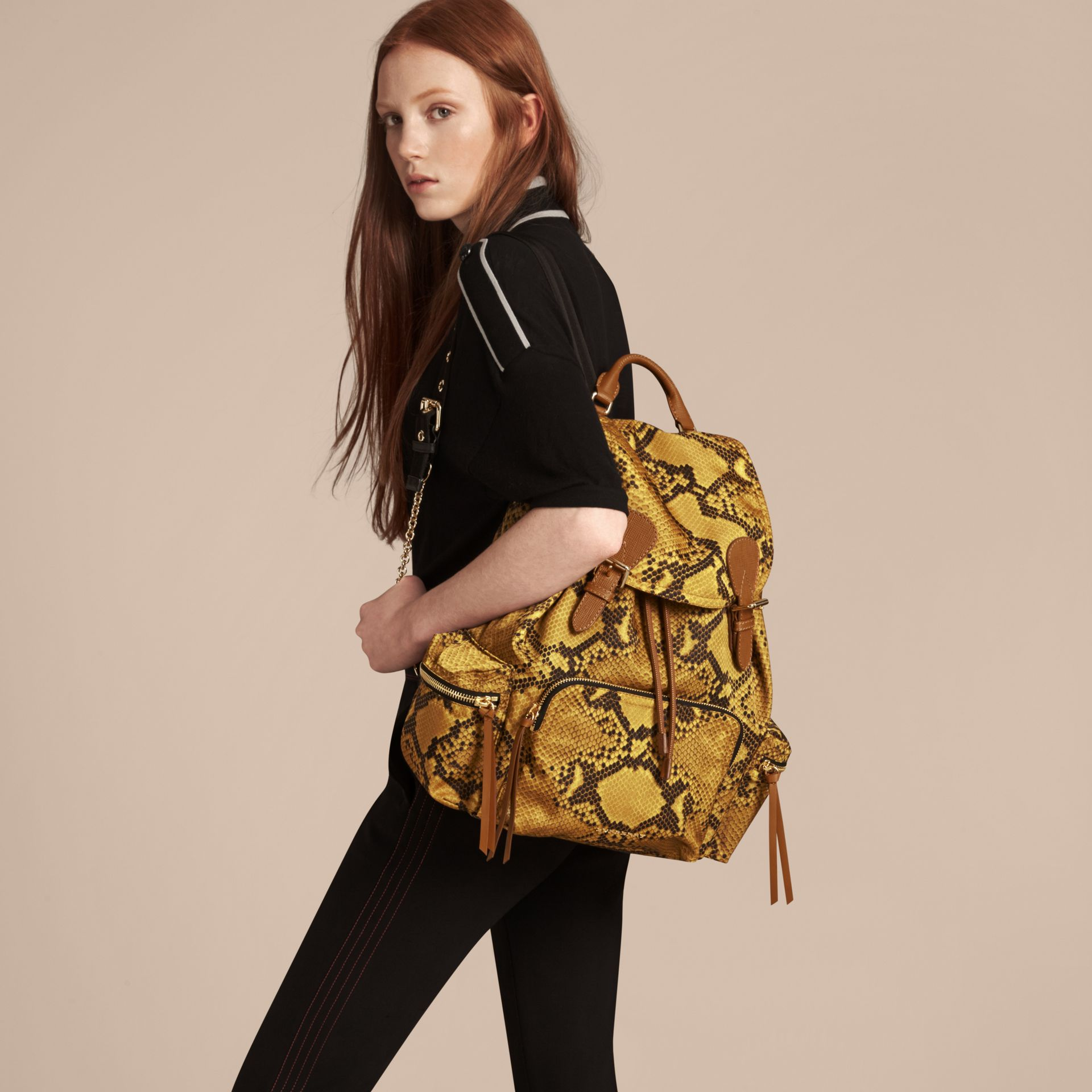 The Large Rucksack in Python Print Nylon and Leather - Women | Burberry Australia - gallery image 3
