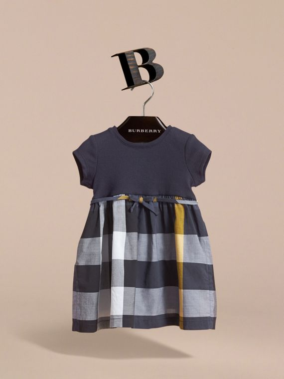 Check Cotton Jersey T-shirt Dress in Pale Navy | Burberry - cell image 2
