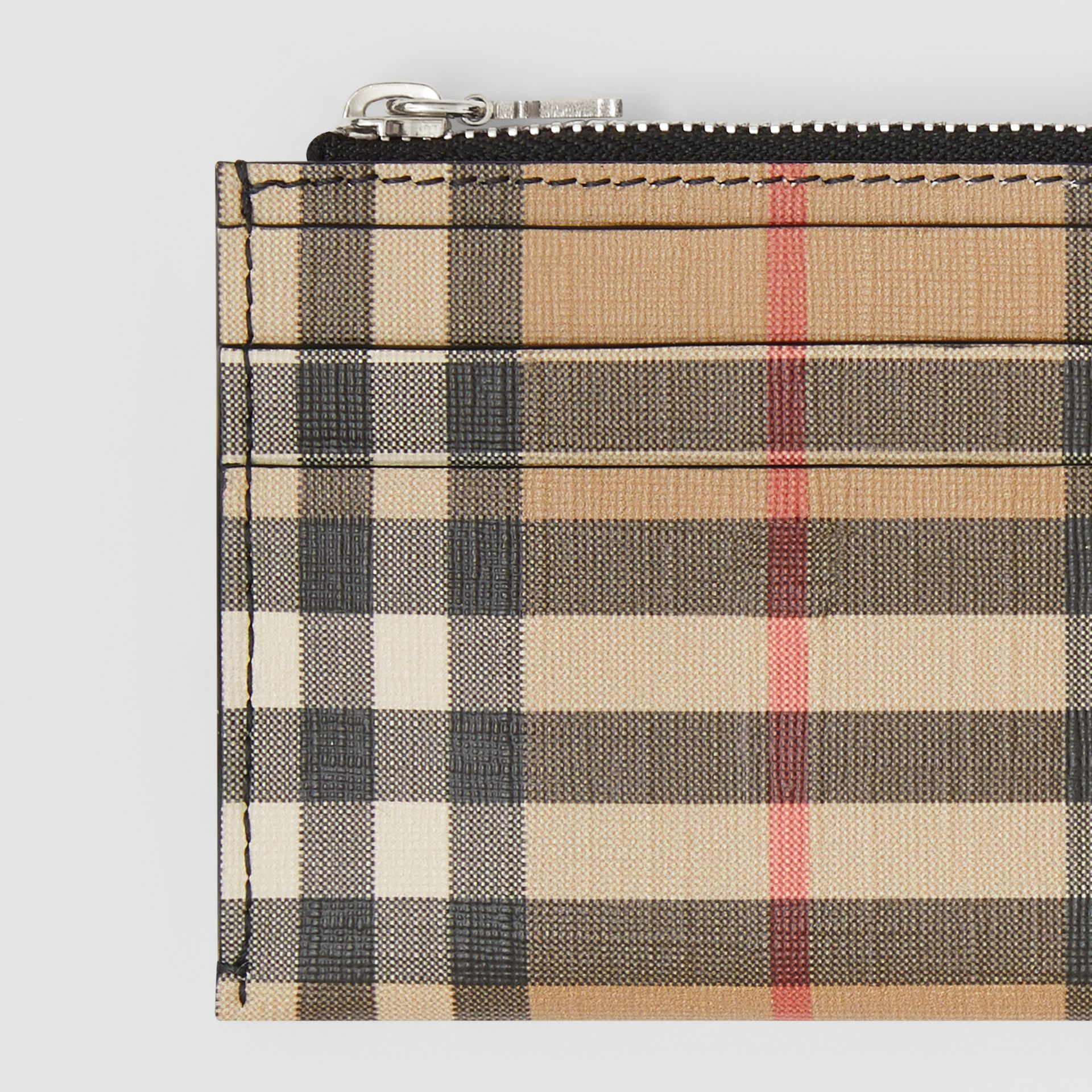 Vintage Check and Leather Zip Card Case in Black - Women | Burberry - gallery image 1