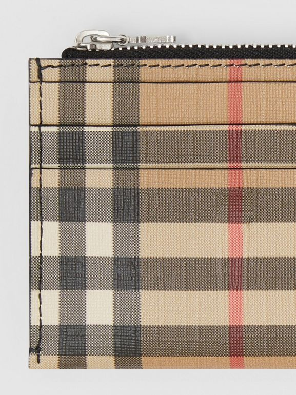 Vintage Check and Leather Zip Card Case in Black - Women | Burberry - cell image 1