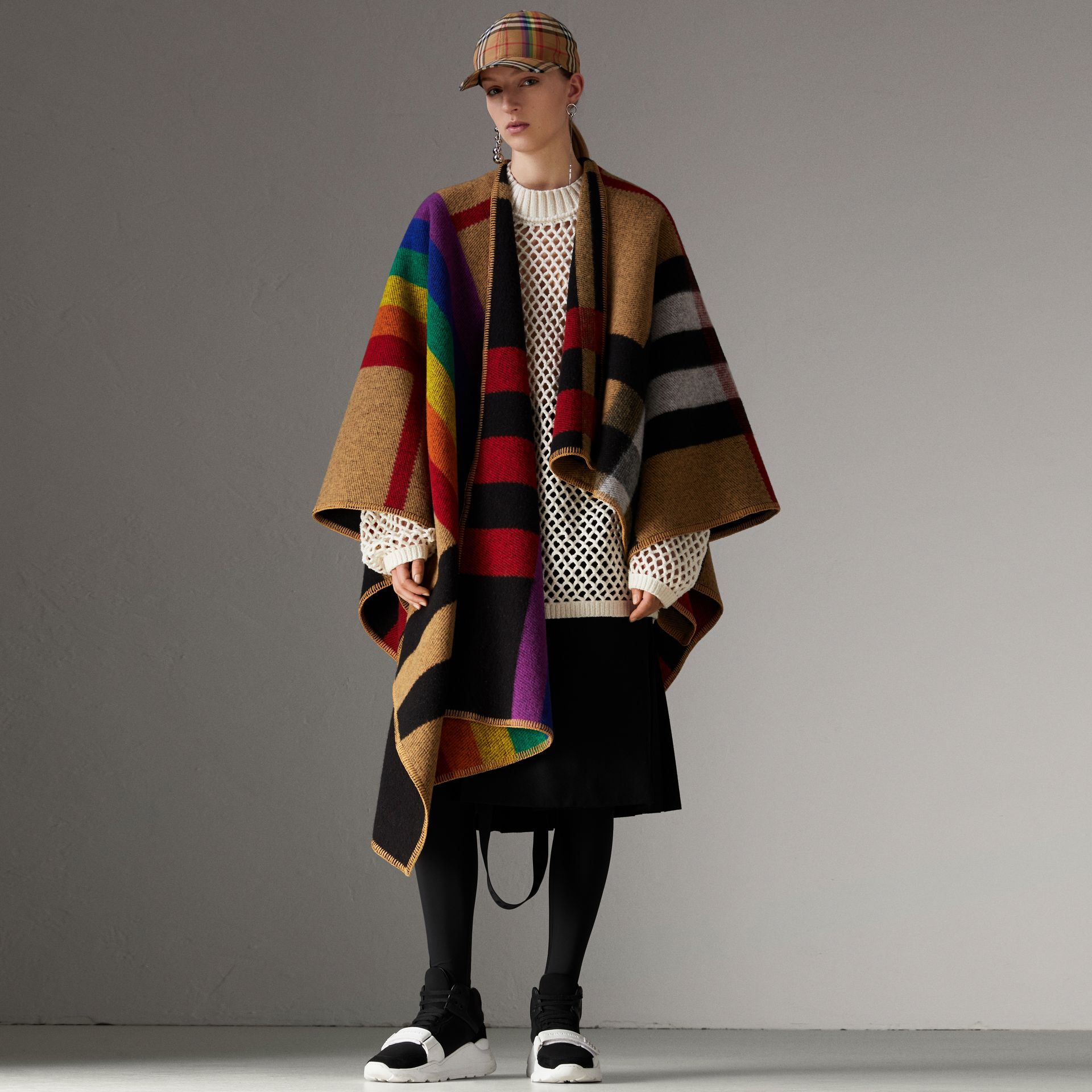 Rainbow Vintage Check Wool Cashmere Poncho in Antique Yellow/rainbow - Women | Burberry Singapore - gallery image 0