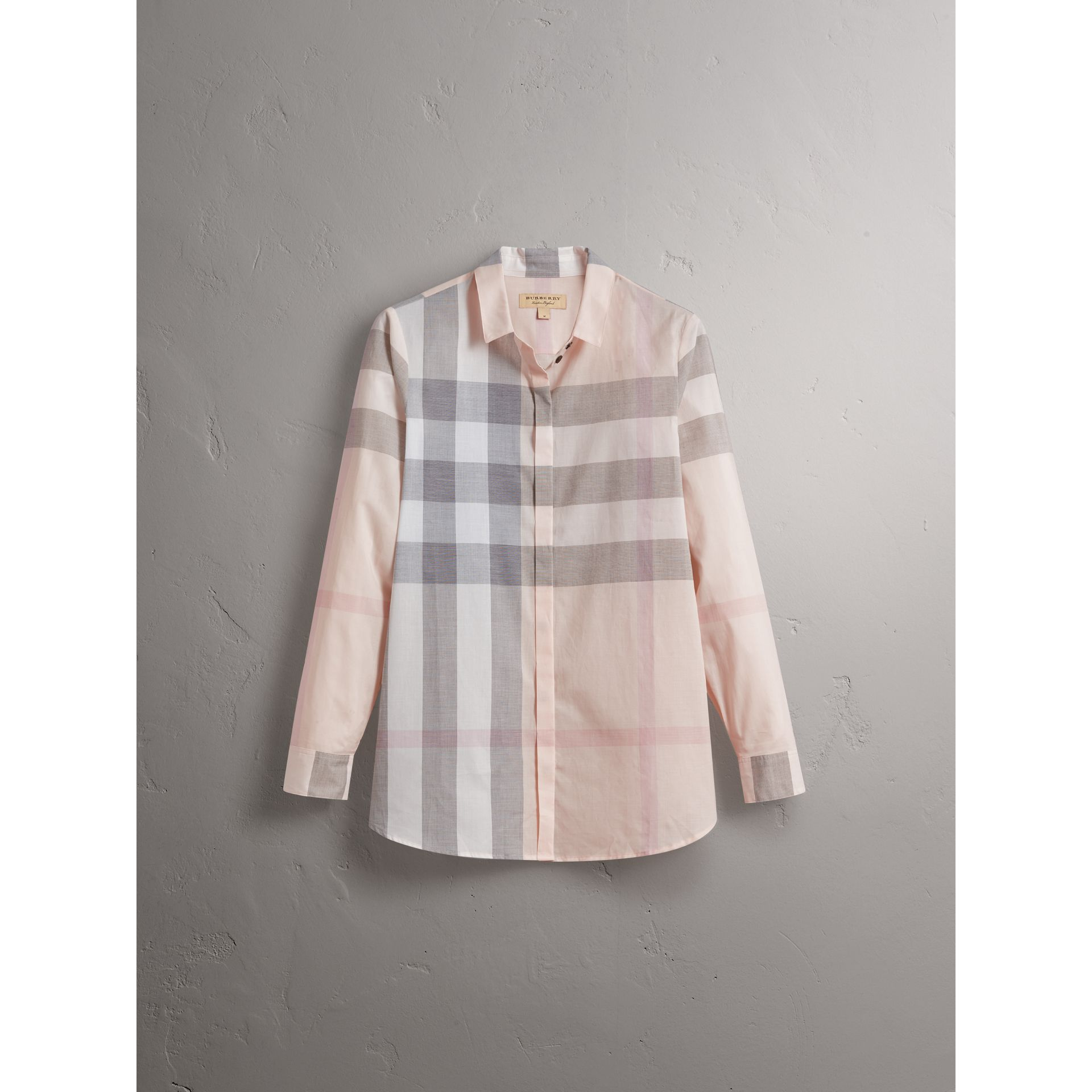 Check Cotton Shirt in Apricot - Women | Burberry - gallery image 4