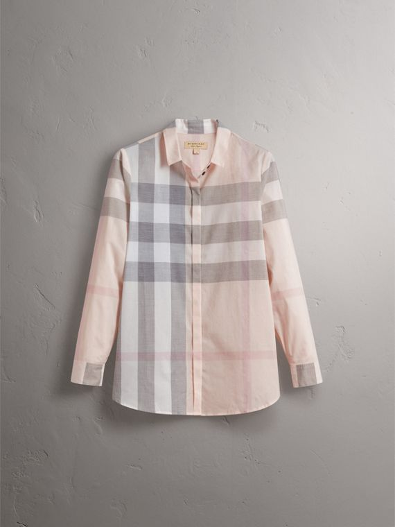 Check Cotton Shirt in Apricot - Women | Burberry - cell image 3
