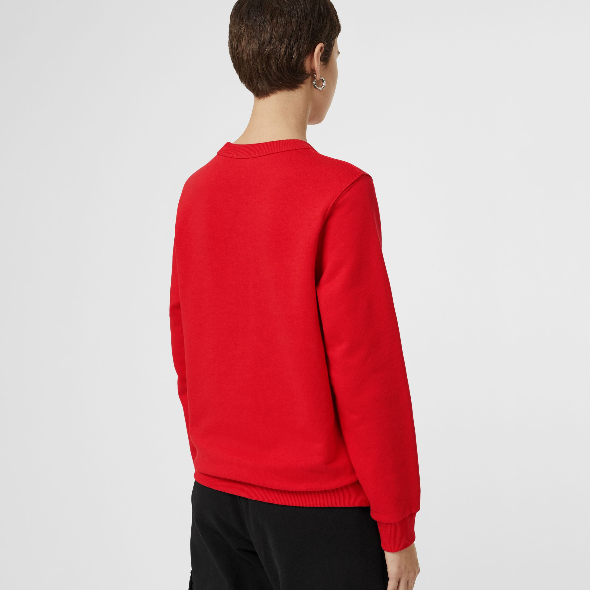 Horseferry Print Cotton Sweatshirt in Bright Red | Burberry - 3