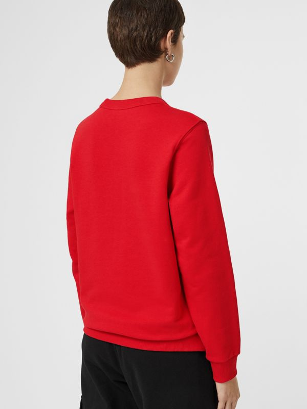 Horseferry Print Cotton Sweatshirt in Bright Red - Women | Burberry United Kingdom - cell image 2
