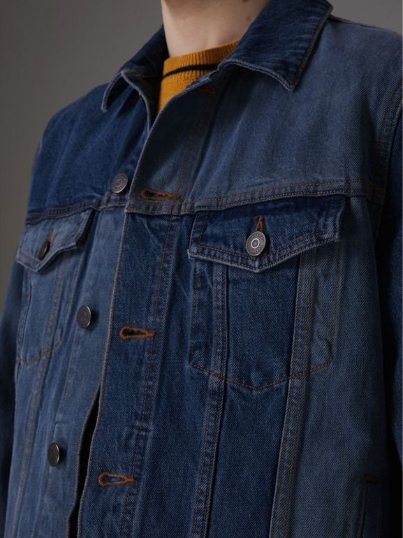 Two-tone Denim Jacket in Indigo - Men | Burberry United Kingdom - cell image 1