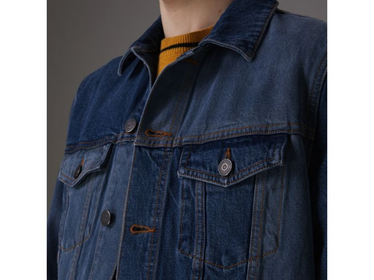 Two-tone Denim Jacket in Indigo - Men | Burberry - cell image 1
