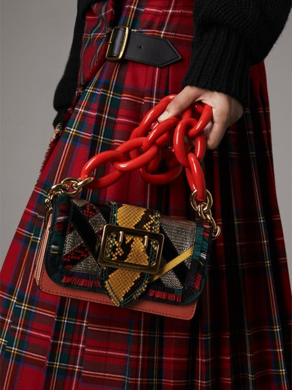 The Patchwork in Exotics and Fringed Cotton in Orange Red - Women | Burberry - cell image 3