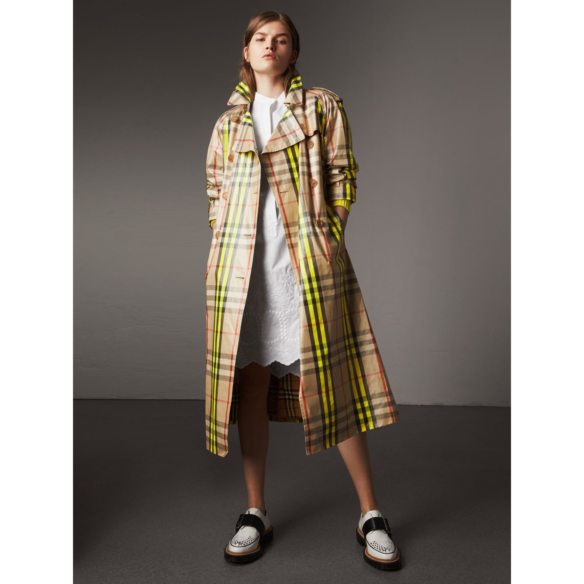 Laminated Check Trench Coat – Online Exclusive in Fluorescent Yellow - Women | Burberry United Kingdom - gallery image 0