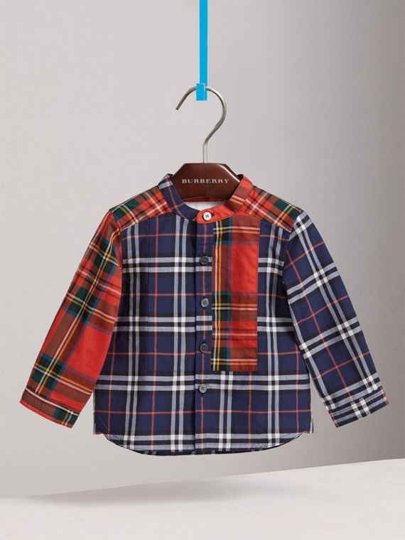 Panelled Tartan and Check Cotton Poplin Shirt in Navy