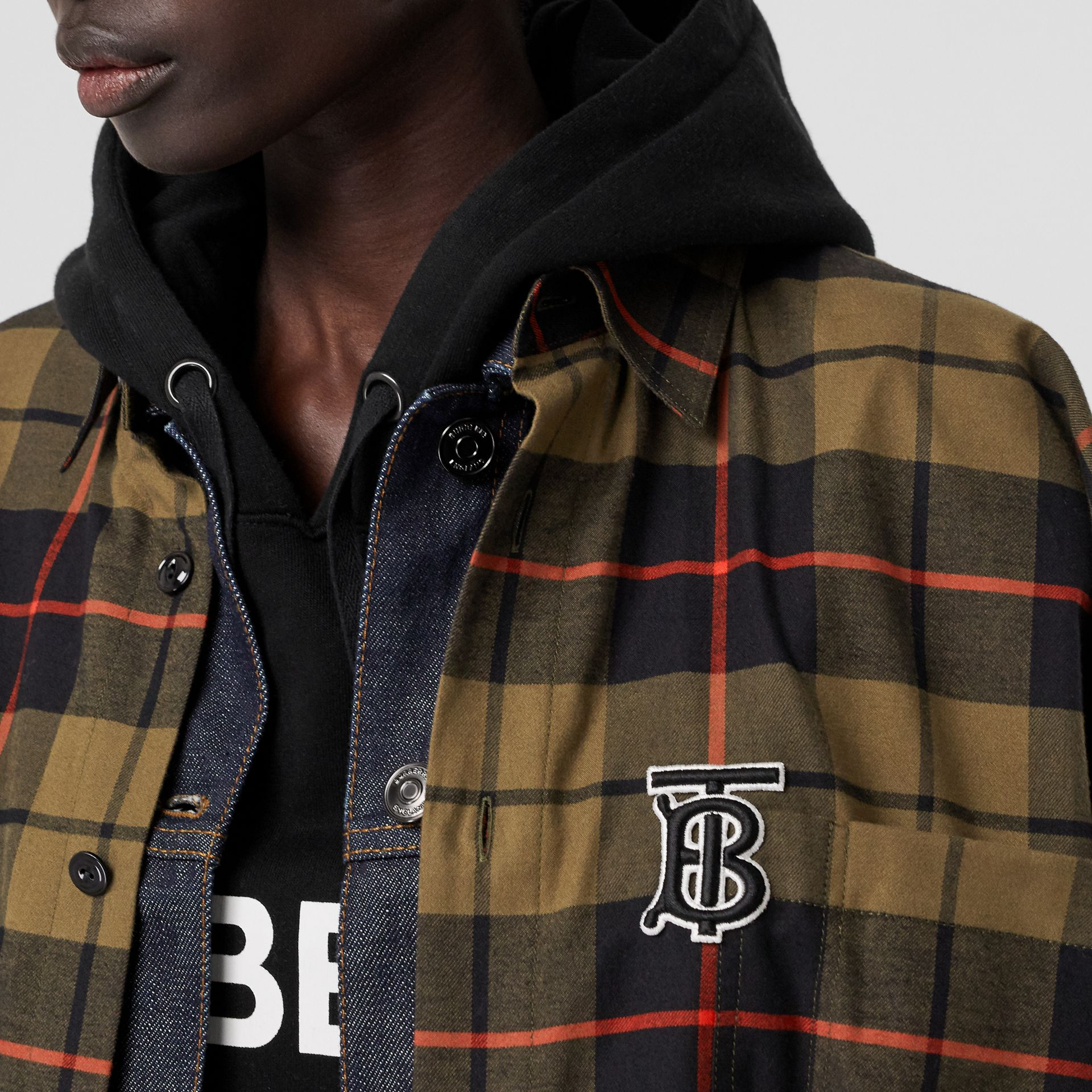 Monogram Motif Check Cotton Oversized Poncho in Military Olive | Burberry - gallery image 1