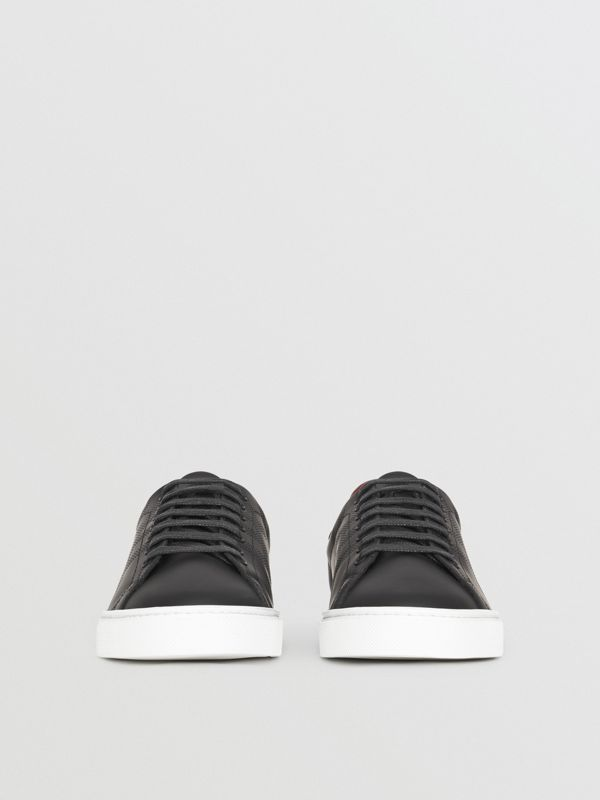 Perforated Check Leather Sneakers in Black - Men | Burberry - cell image 3