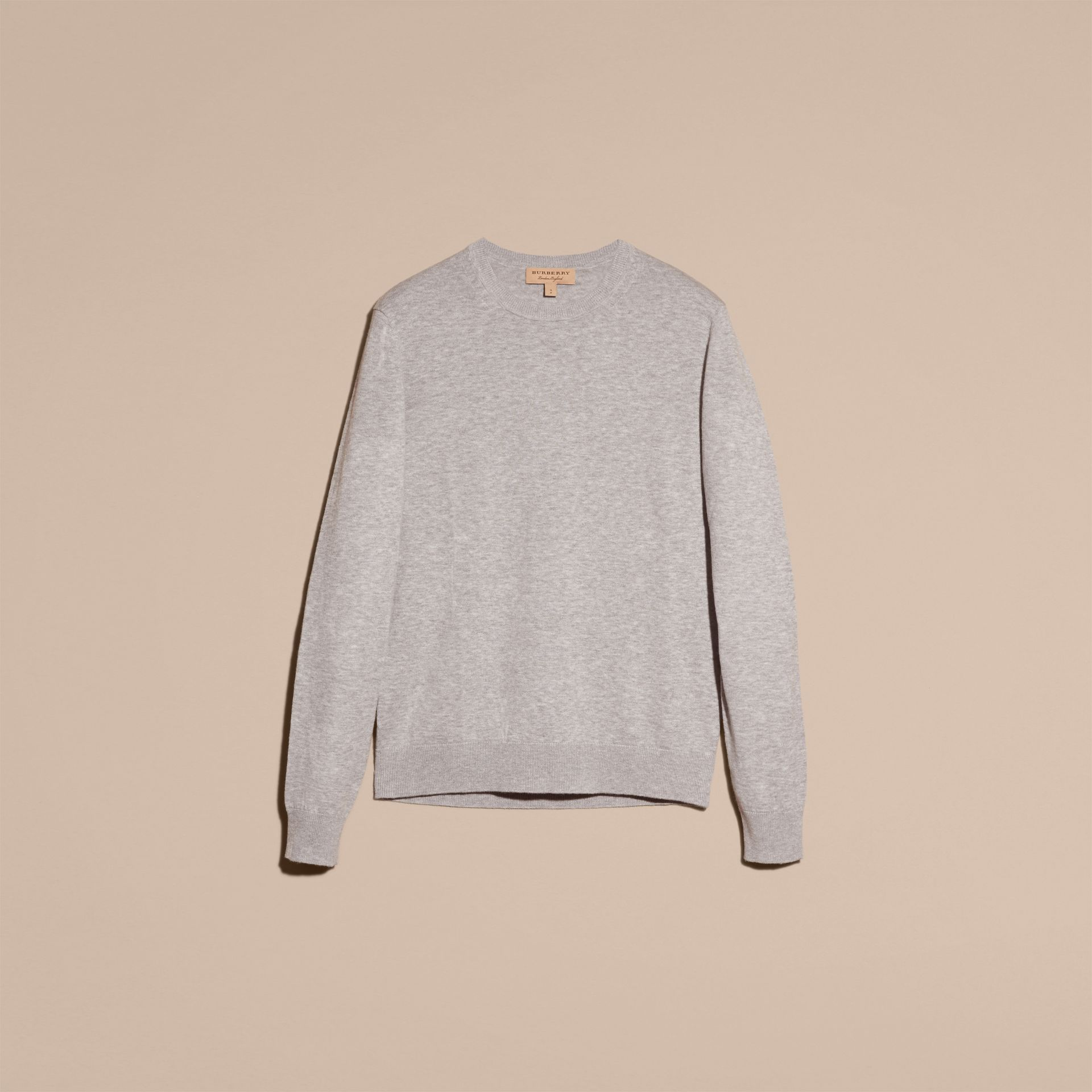 Check Trim Cashmere Cotton Sweater Pale Grey Melange - gallery image 4