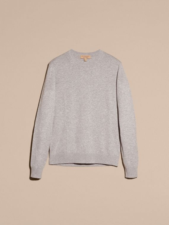 Check Trim Cashmere Cotton Sweater in Pale Grey Melange - cell image 3