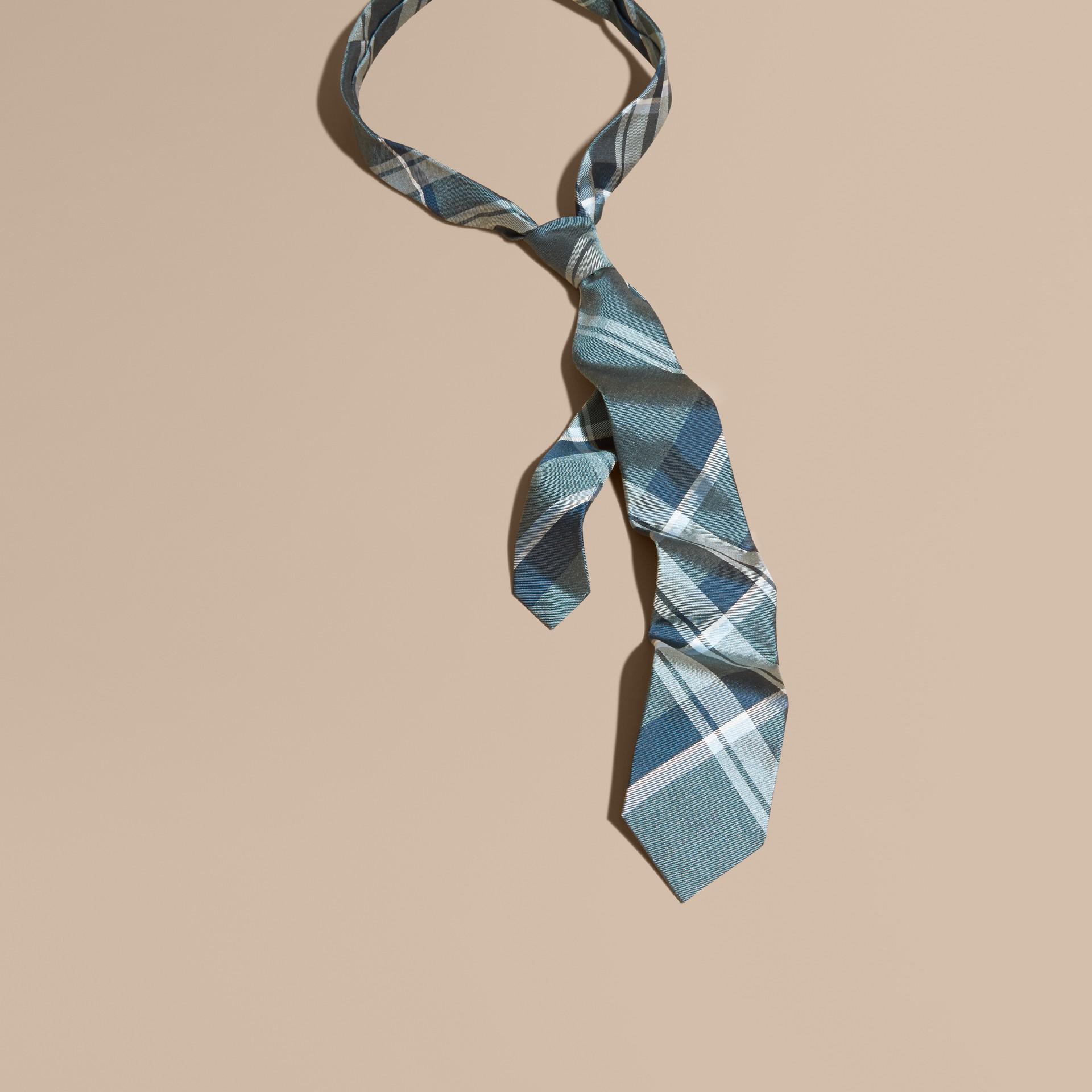 Pale celadon Modern Cut Check Jacquard Silk Tie Pale Celadon - gallery image 1