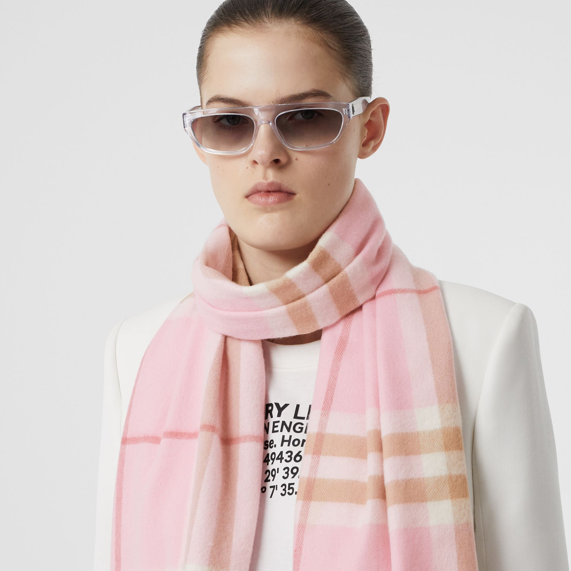 The Classic Check Cashmere Scarf in Candy Pink | Burberry United States - gallery image 2