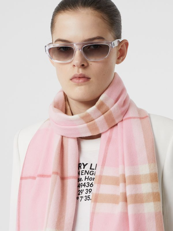 The Classic Check Cashmere Scarf in Candy Pink | Burberry United States - cell image 2